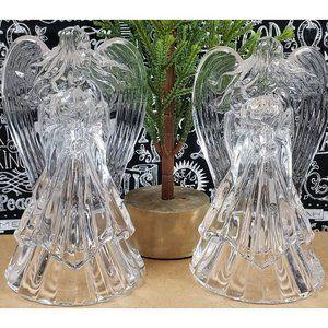 Crystal Christmas Angel Candle Holders (2)